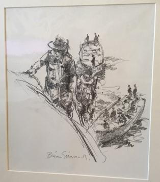 LHB pencil sketch climbing boat